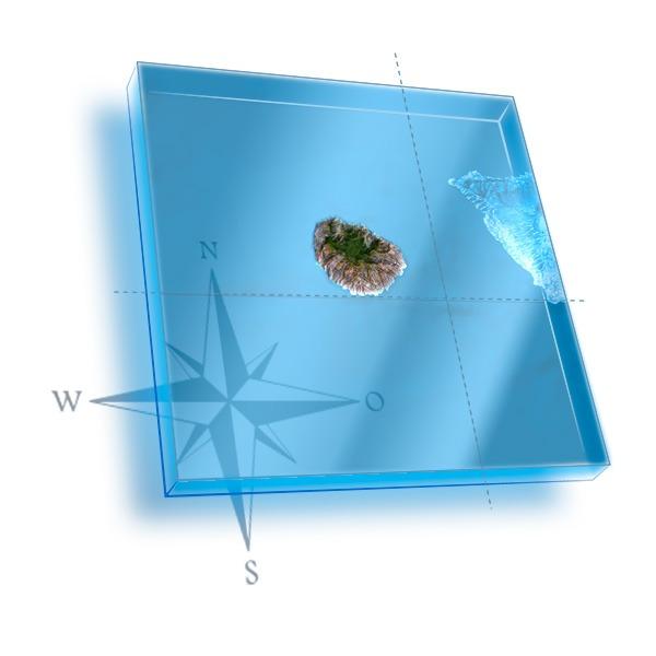 Mapa 3D de La Gomera con localizacion de centro de buceo en Tenerife Sur y La Gomera