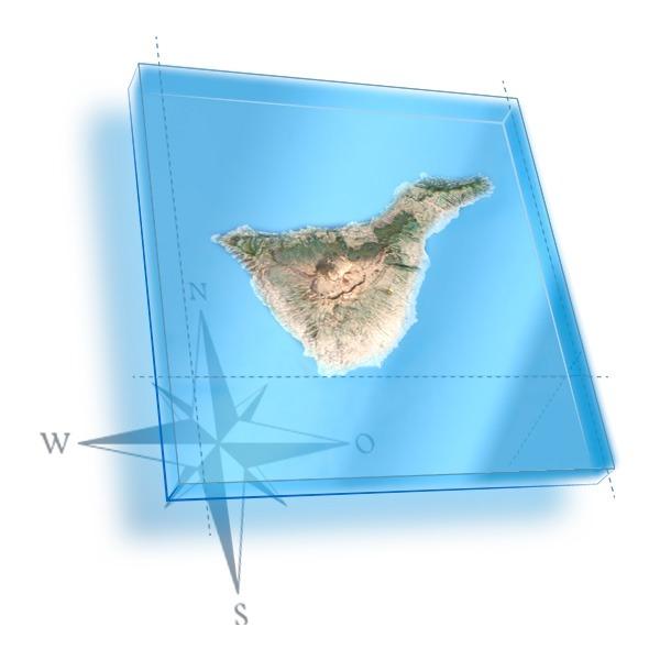 Mapa 3D de Tenerife con localizacion de centro de buceo en Tenerife Sur Las Galletas