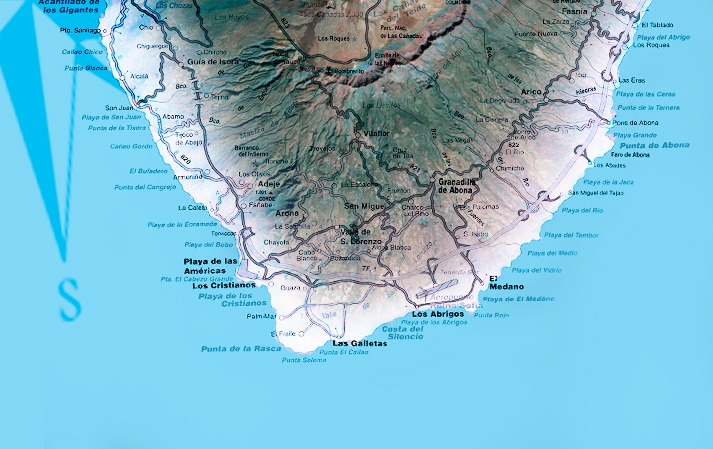 Localizacion de centro de buceo en Tenerife Sur Las Galletas