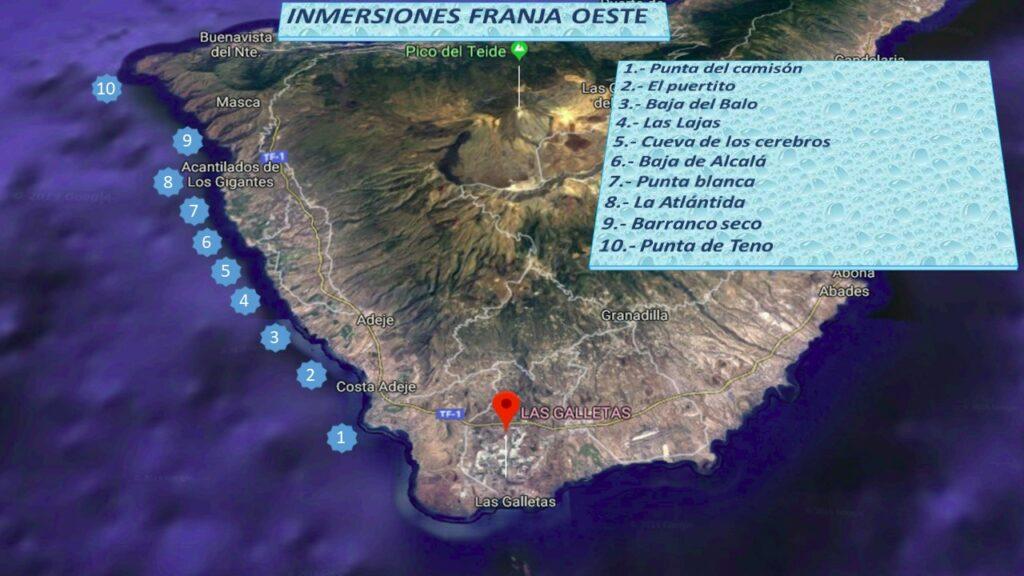 Mapa con puntos de inmersion en zona oeste desde centro de buceo en Tenerife Sur Las Galletas