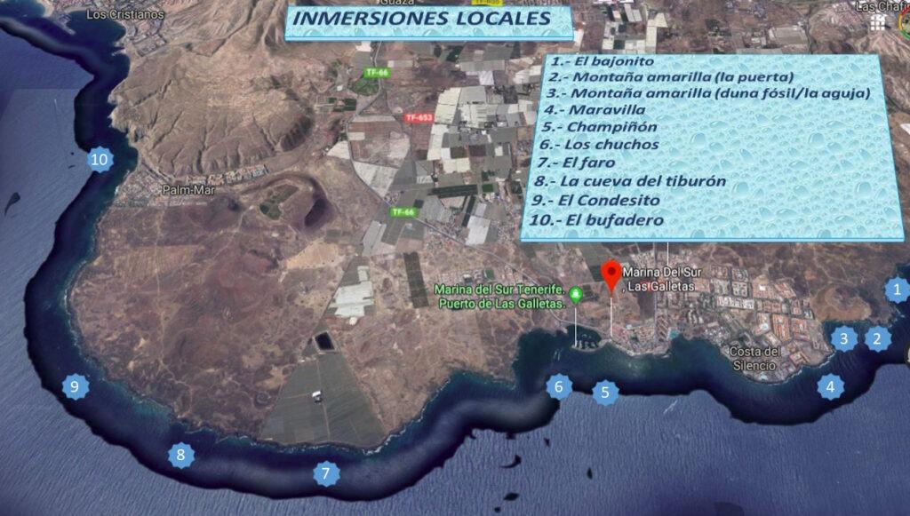 Mapa con puntos de inmersion desde centro de buceo en Tenerife Sur Las Galletas