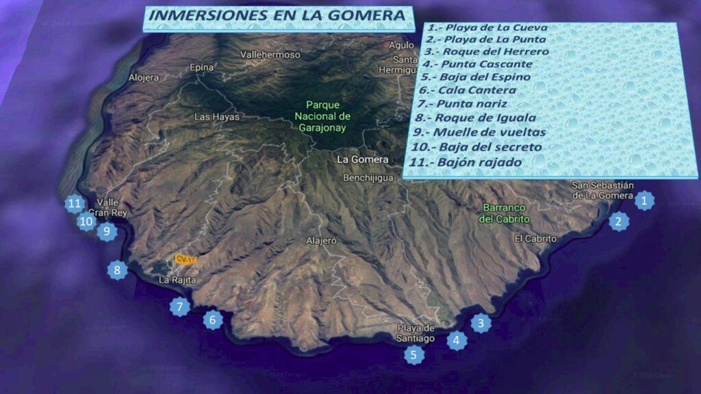 Mapa con puntos de inmersion en zona sur y oeste desde centro de buceo en La Gomera