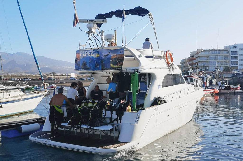 Barco yate reservado para excursion de grupo de buceo en Tenerife Sur Las Galletas y La Gomera
